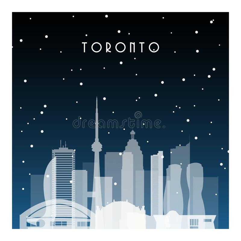 Winter night in Toronto. Night city in flat style for banner, poster, illustration, game, background stock illustration