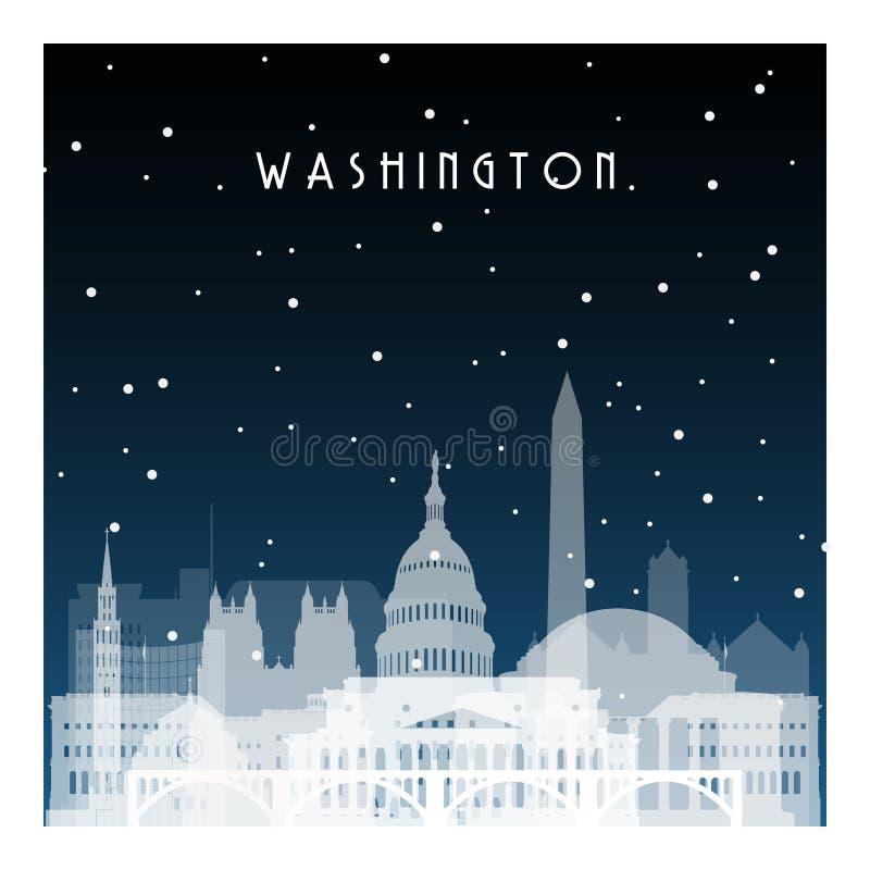 Winter night in Washington. vector illustration