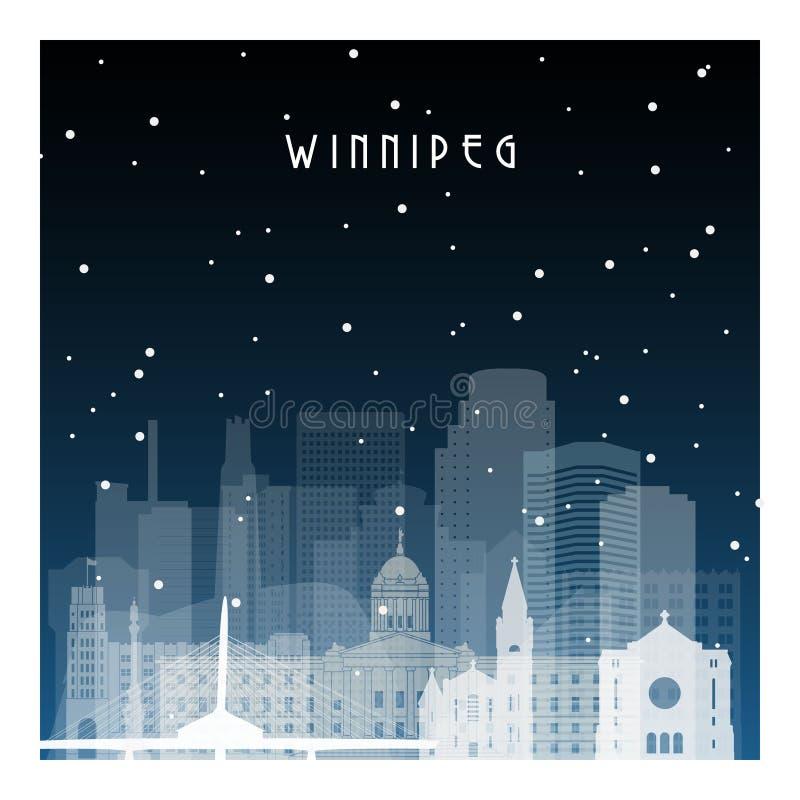 Winter night in Winnipeg. vector illustration