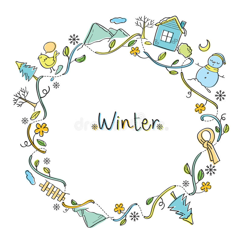 Free Winter Objects On Round Frame Royalty Free Stock Images - 80551489