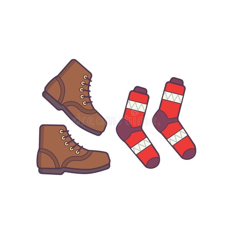 Winter- oder Herbstschuhe und Sockenvektor lokalisierten Illustration stock abbildung
