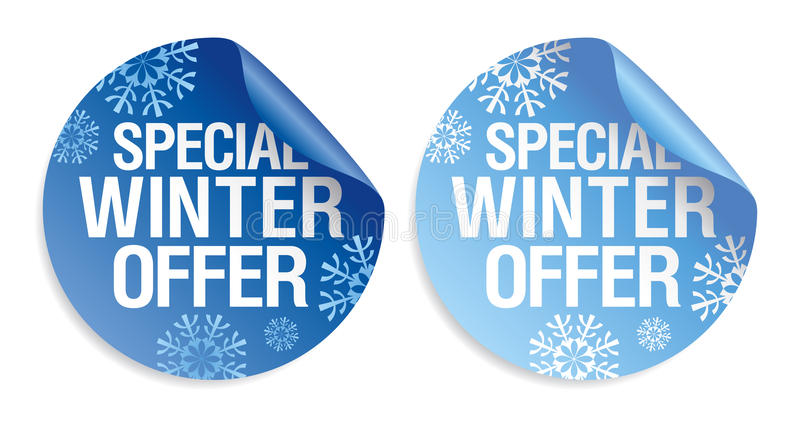 Winter offer stickers. Special winter offer stickers set