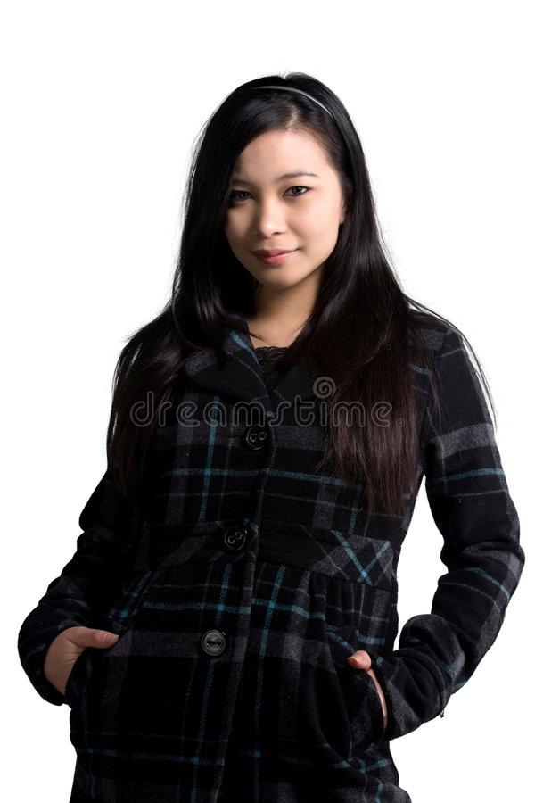 Winter office clothes. A model wearing an office attire during winter stock image