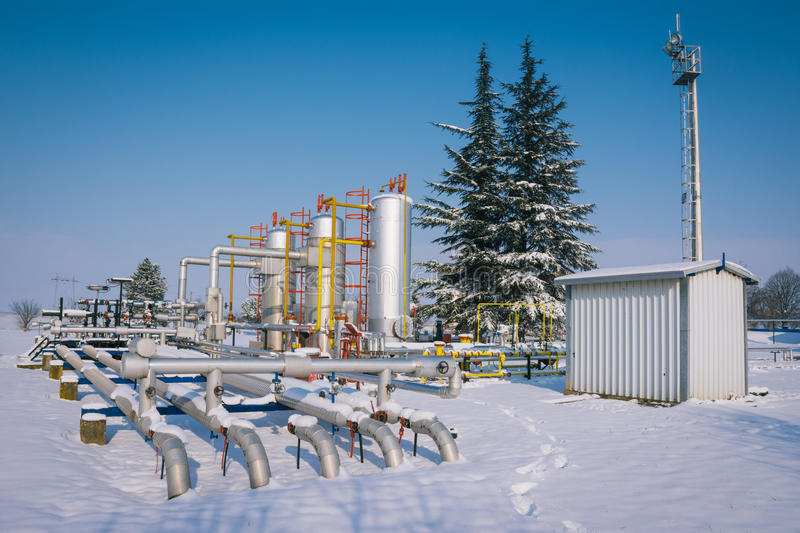 Winter oil and gas industry stock photography