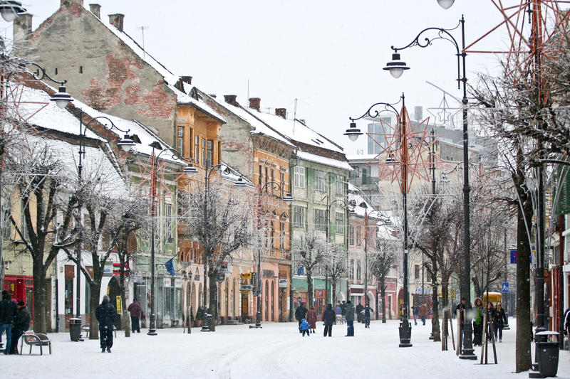 Winter in old town Sibiu, Romania stock images