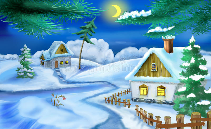 Winter in a Old Ukrainian Traditional Village at Christmas Eve. Handmade illustration in a classic cartoon style royalty free illustration
