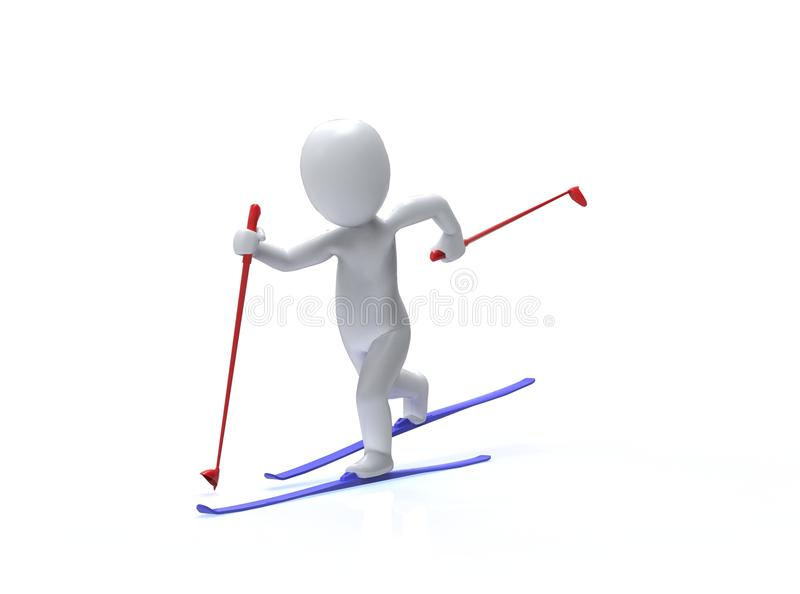 Winter Olympic games. Ski. 3d man is skiing vector illustration