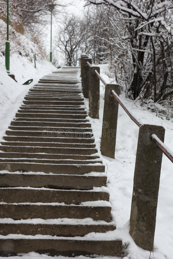 Free Winter On Stairs. Royalty Free Stock Images - 37148869