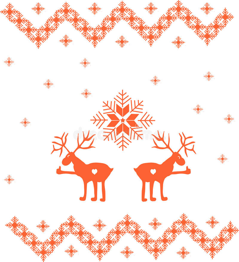 Winter ornament with deer and snowflakes stock photo