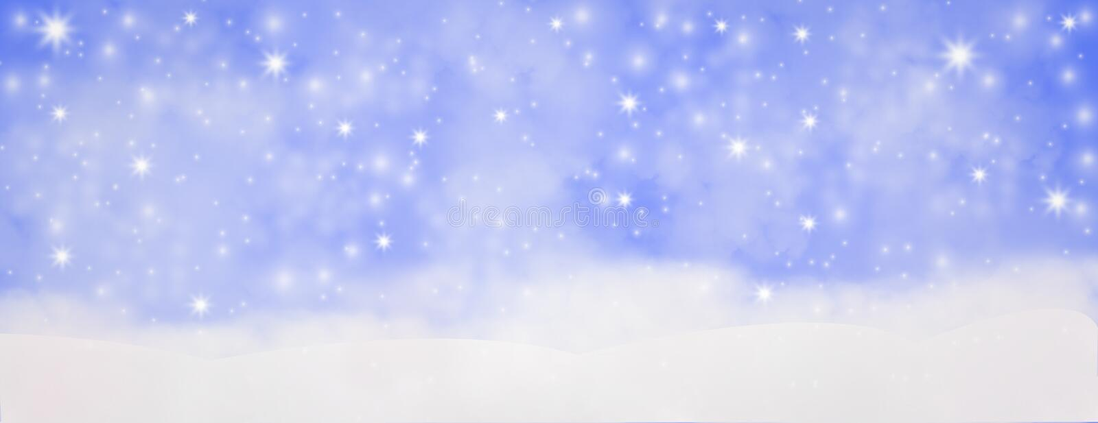 Winter outdoor with falling snowflakes, Panoramic web banner horizontal, with snow background, bokeh And glittering, Concept of c. Elebration and beauty of be stock illustration