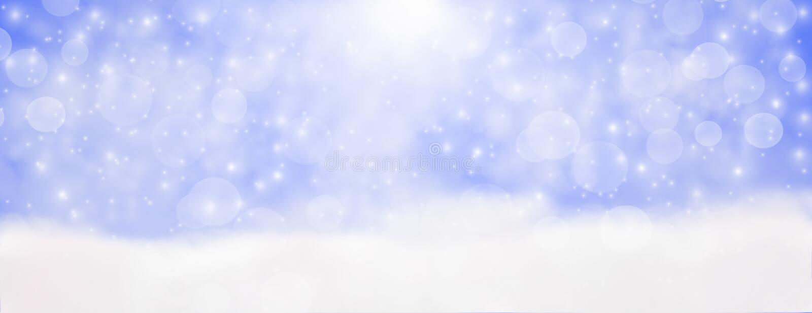 Winter outdoor with falling snowflakes, Panoramic web banner horizontal, with snow background, bokeh And glittering, Concept of c vector illustration