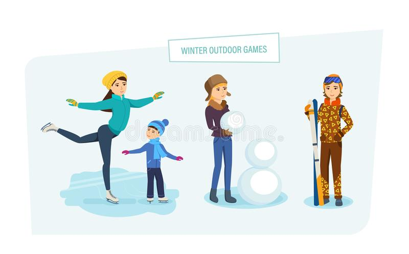 Winter outdoor. People do their favorite hobby in open air. stock illustration