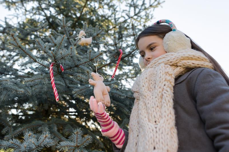 Winter outdoor portrait of child girl near the Christmas tree royalty free stock images