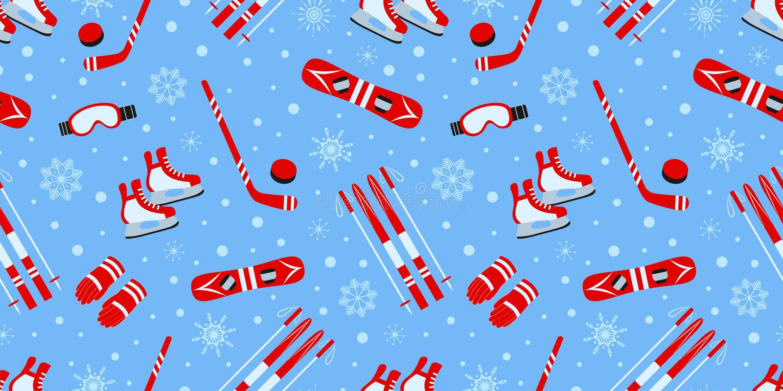 Winter outdoors background. Sports equipment vector seamless pattern. Ice hockey, skating, skiing, snowboarding repeat vector illustration
