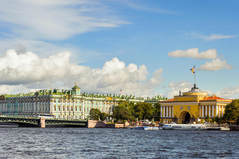Winter palace and the Admiralty, St Petersberg, Russia. Winter palace and the Admiralty across Neva river, St Petersberg, Russia stock images