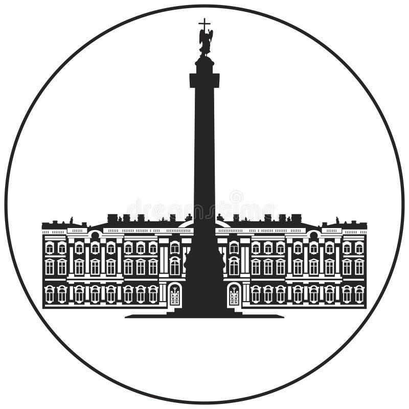 Winter Palace and Alexander Column icon from Saint-Petersburg Russian landmark set stock illustration