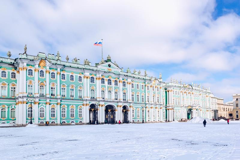 Winter Palace building Hermitage Museum on Palace Square at frosty snow winter day in St. Petersburg, Russia.  stock image
