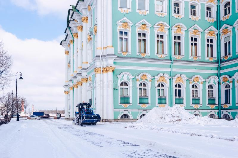 Winter Palace building Hermitage Museum on Palace Square at frosty snow winter day in St. Petersburg, Russia.  stock images