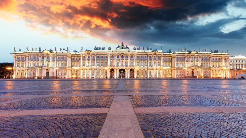 Winter Palace on Palace Square in Saint Petersburg, Russia.  stock photo