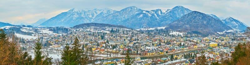 Winter panorama of Bad Ischl, Salzkammergut, Austria stock photo