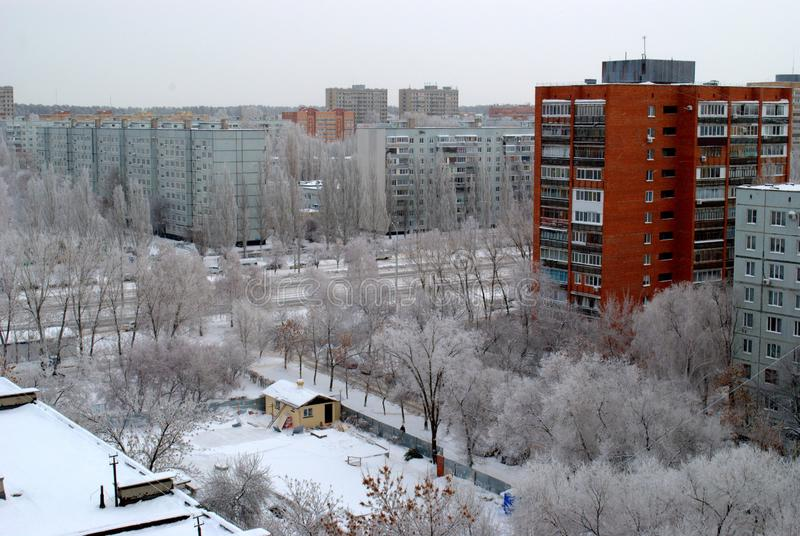 Winter panorama of the city overlooking the temple of Seraphim of Sarov under construction stock photo
