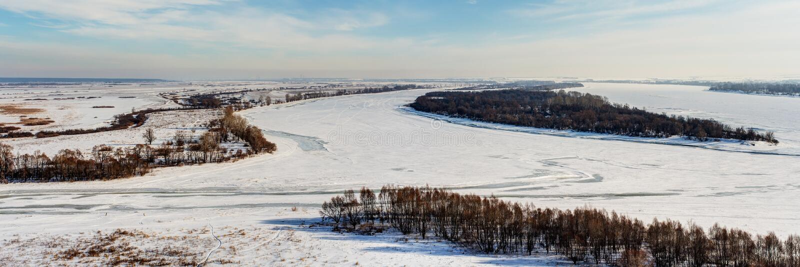 Winter panorama of the Kama river royalty free stock photo