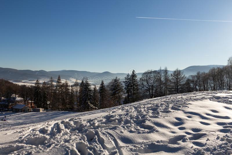 Winter panorama landscape with forest, trees covered snow and sunrise. winterly morning of a new day. winter landscape with sunset. Panoramic view royalty free stock photos