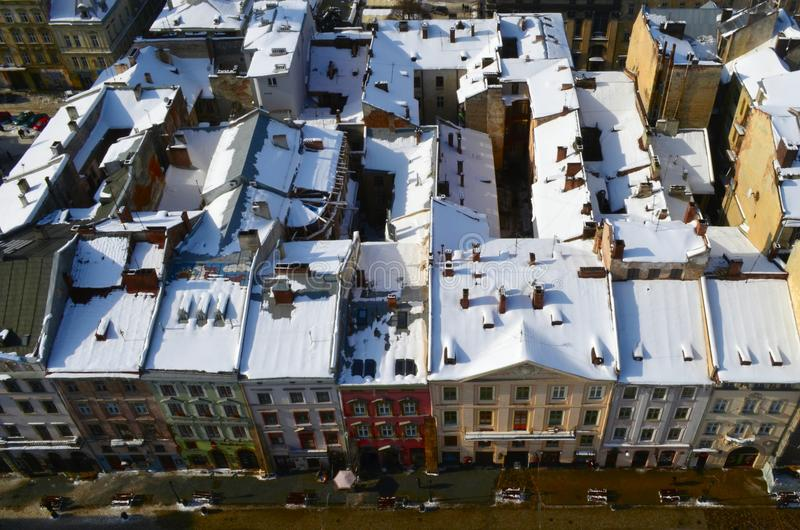 Winter panorama of Lviv covered by snow, Ukraine.Lviv Lvov, Eastern Ukraine - the view of the city from the city hall clock towe stock photography