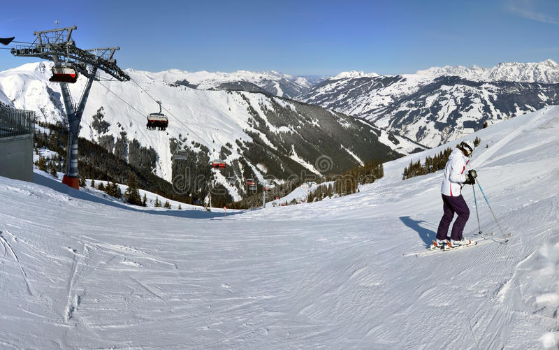 Download Winter Panorama With Skiers Editorial Image - Image of europe, kitzbuhel: 23822085