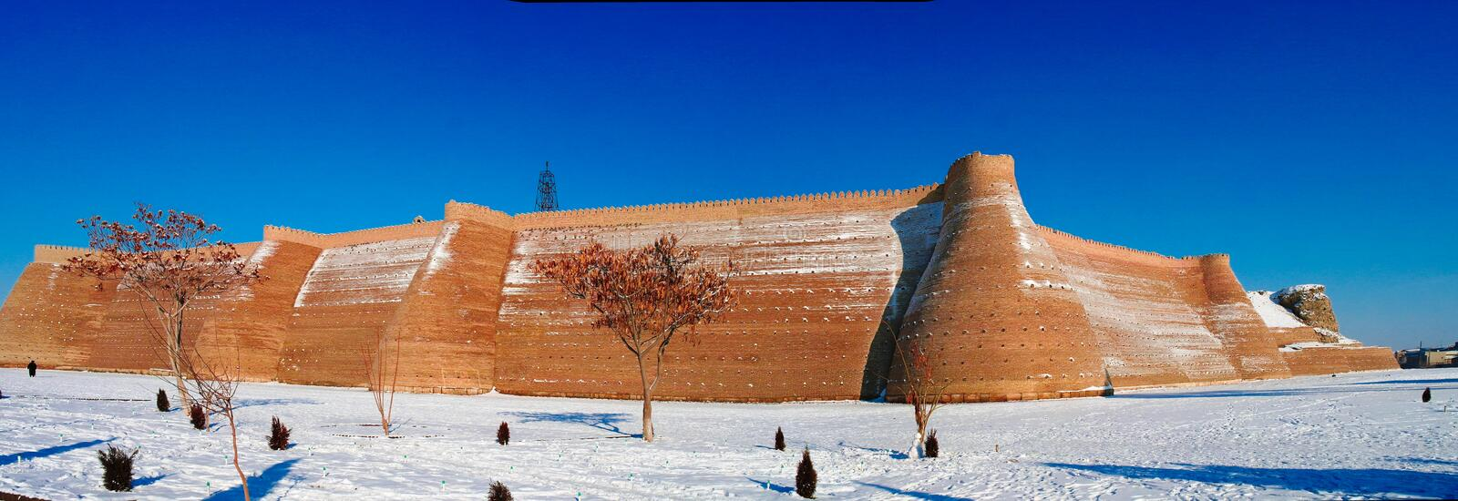 Winter panoramic view to Ark fortress of Bukhara, Uzbekistan royalty free stock images