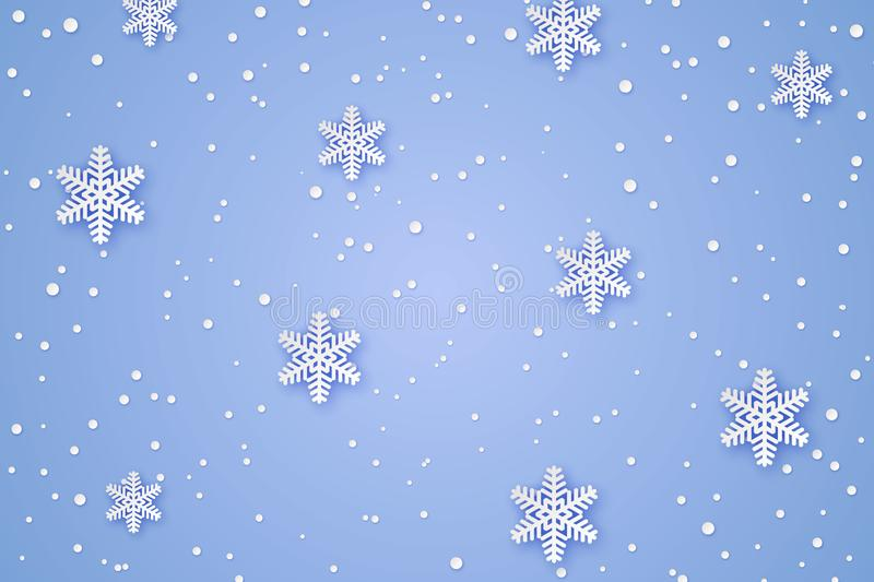 Winter Paper background. Winter cut paper background with Snowflakes stock illustration