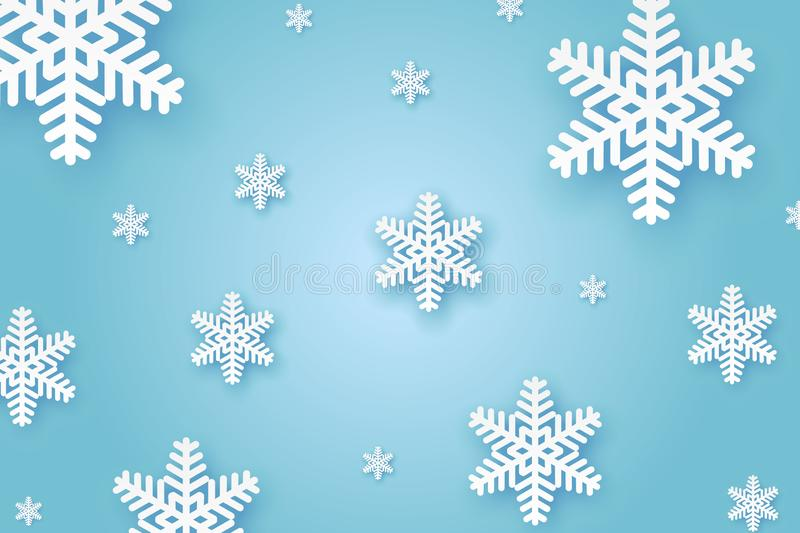 Winter Paper background. Winter cut paper background with Snowflakes vector illustration