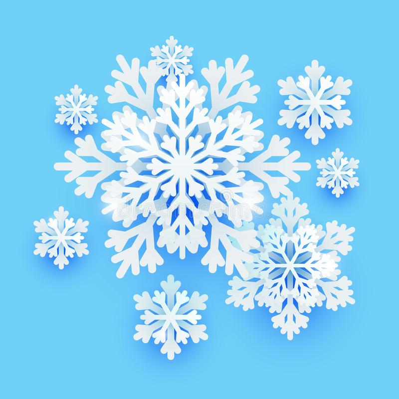 Winter paper snowflakes on blue background for Your holiday design. Winter paper snowflakes on blue background for holiday design vector illustration
