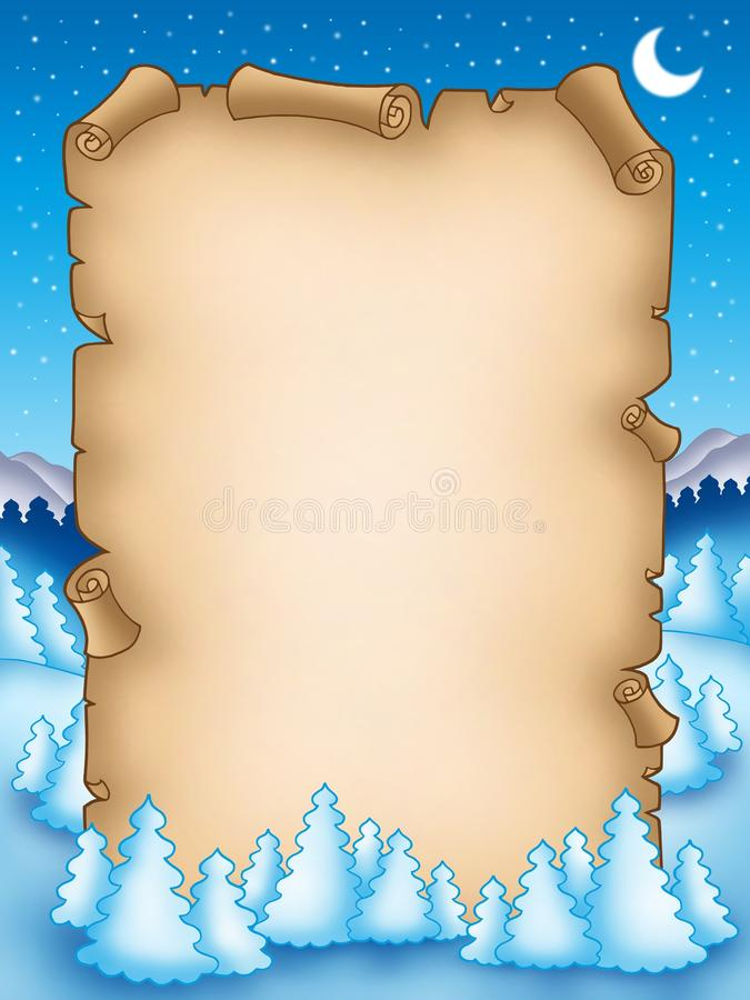 Free Winter Parchment With Snowy Landscape 2 Royalty Free Stock Image - 11344626