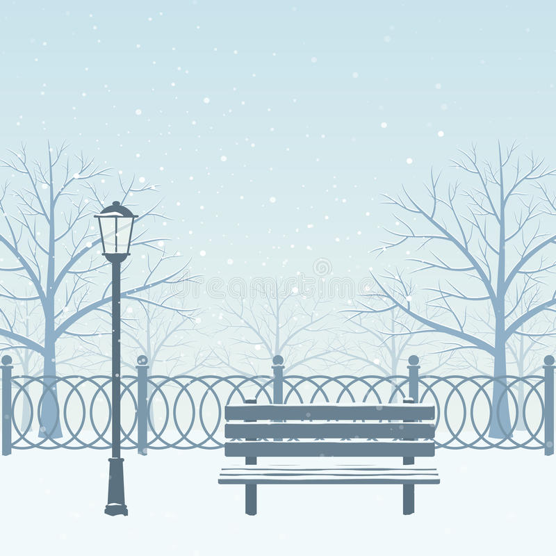 Winter park. stock illustration