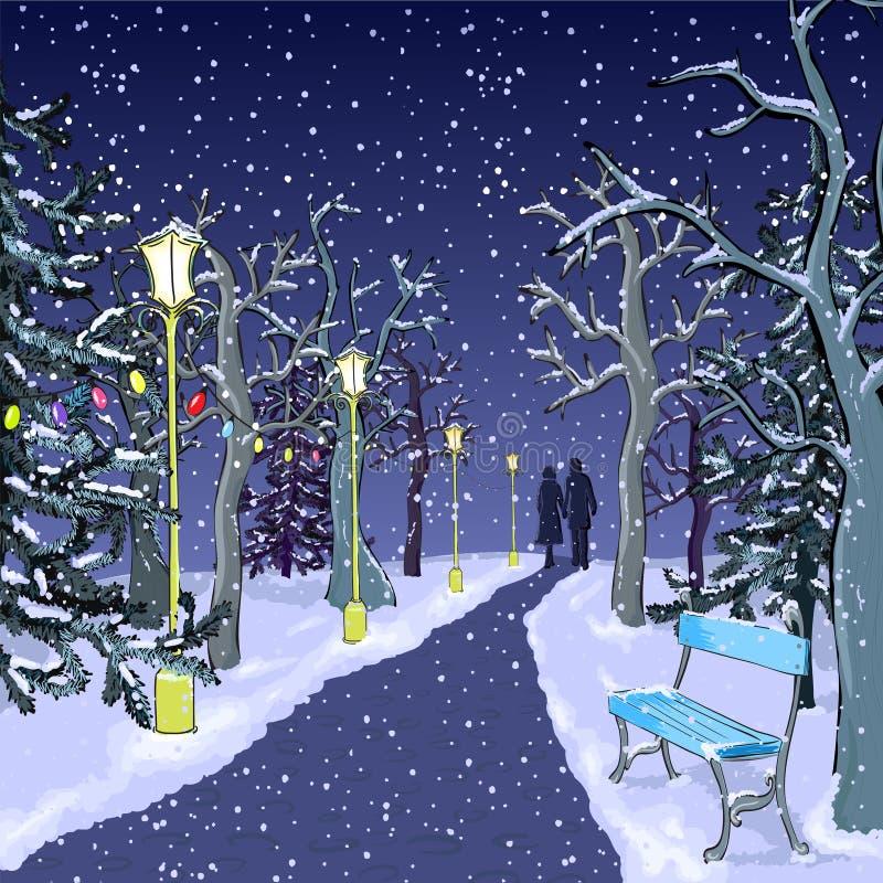 Winter park at night royalty free illustration