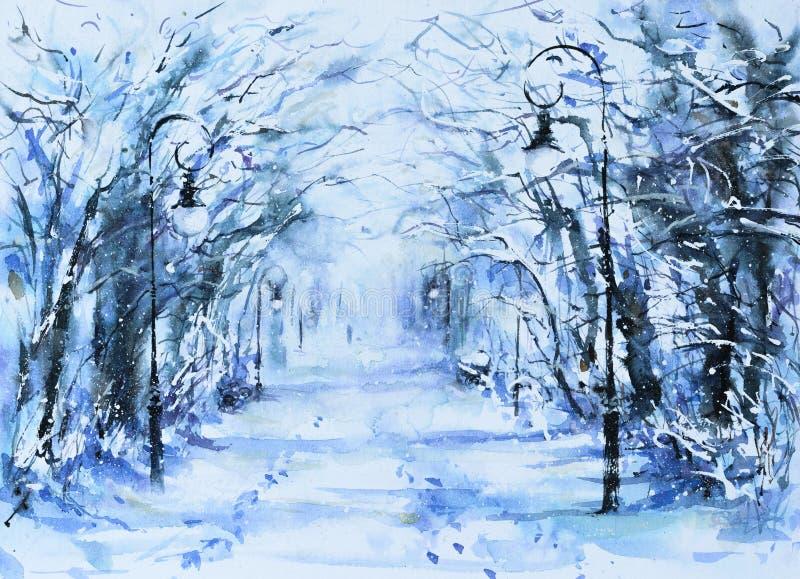 Winter in park vector illustration