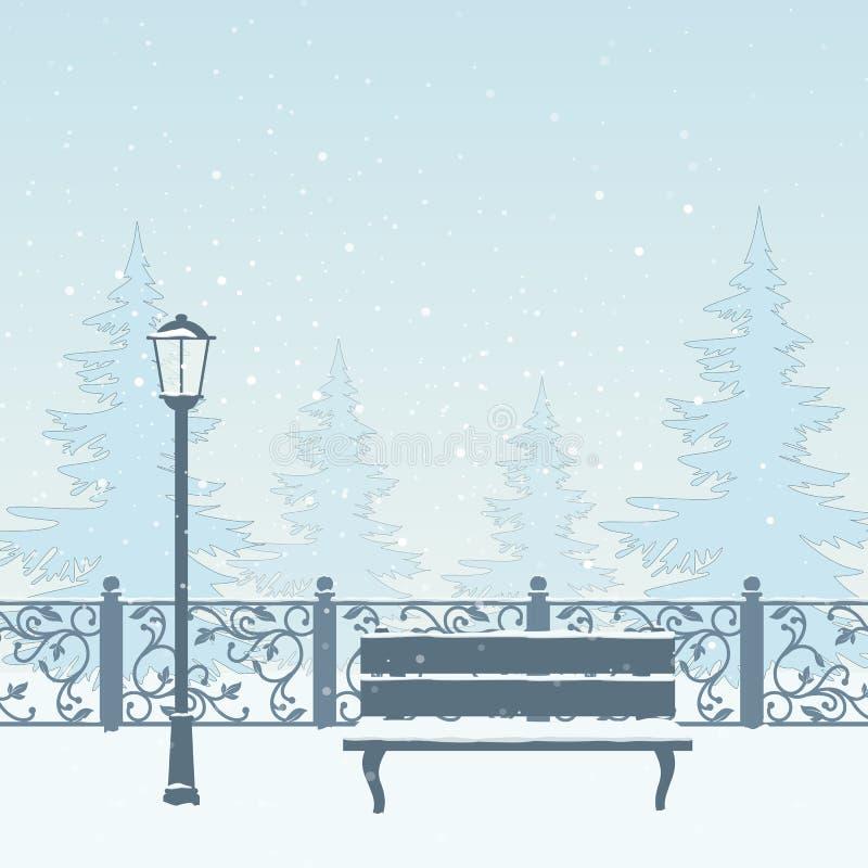 Winter park. stock illustration