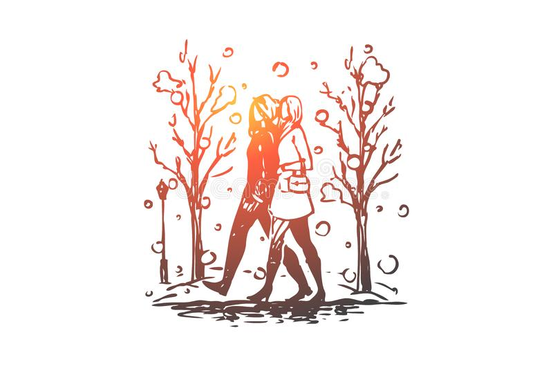 Winter, park, women, walking, season concept. Hand drawn isolated vector. vector illustration