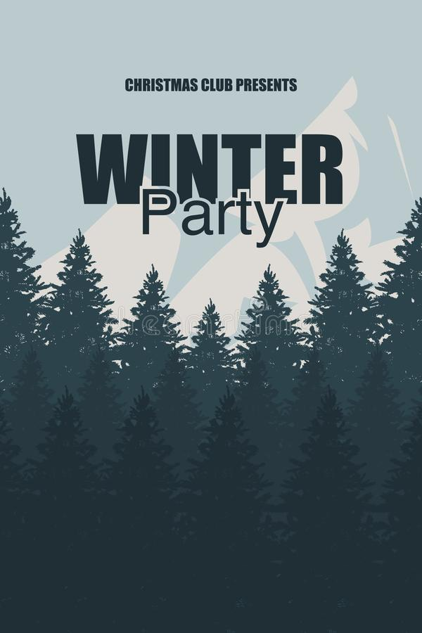 Winter Party flyer template. An elegant Christmas invitation in the background of a forest with mountains. Christmas holidays flye stock illustration