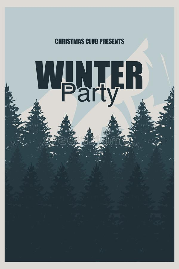 download winter party flyer template an elegant christmas invitation in the background of a forest