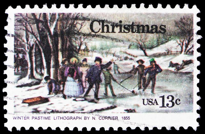 Winter Pasttime, by Nathaniel Currier, Christmas serie, circa 1976 stock image