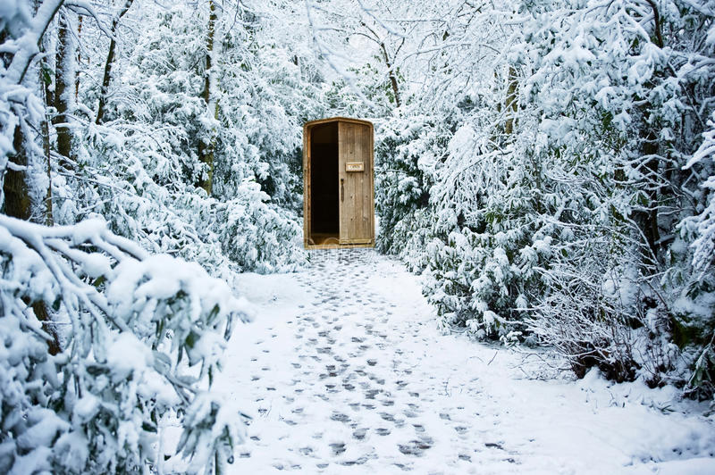 Winter Path Through Forest With Secret Door Stock Image