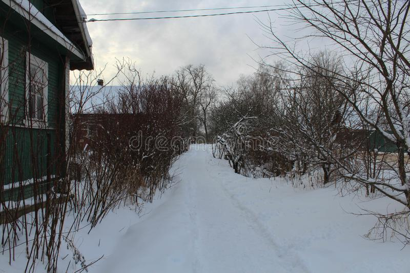 Winter. path in the snow. Winter landscape. Without people. stock photography