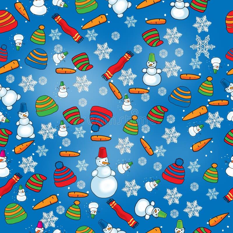 Winter pattern with snowmen stock illustration