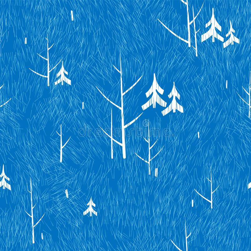 Winter pattern with trees on a blue background stock photo