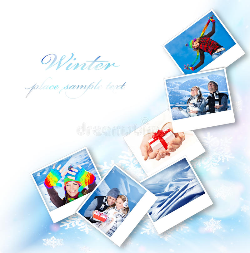 Winter photo collage royalty free stock photo