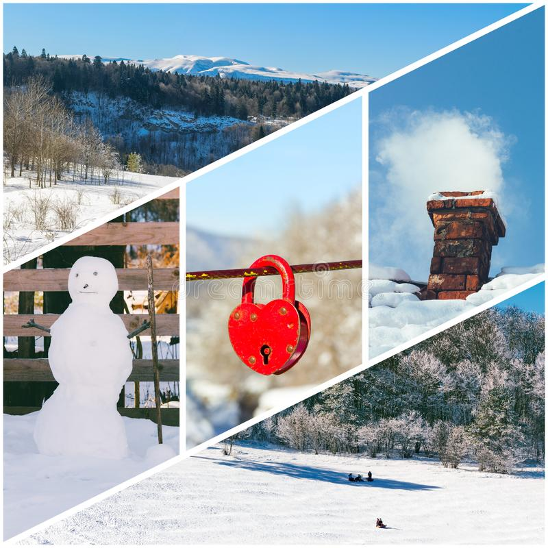 Winter photo collage of a snowman, Smoking chimney, the red padlock in the shape of a heart, riding on a sleigh of children and wi. Nter forest photos all mine royalty free stock photos
