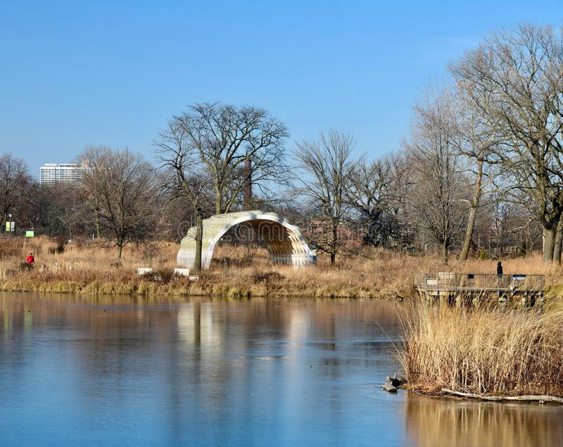 Winter Picture of the Frozen South Pond royalty free stock images