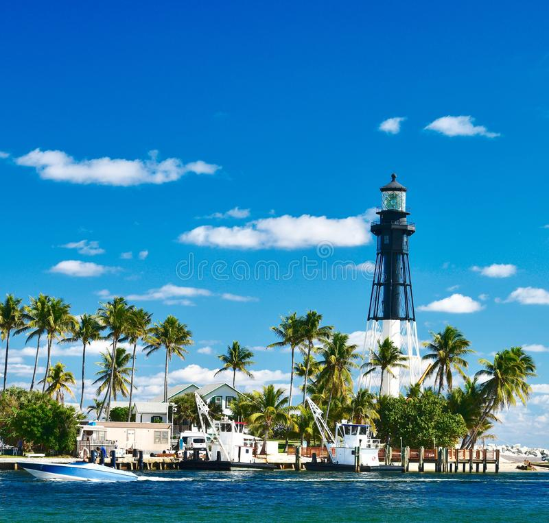 Hillsboro Inlet Light. This is a Winter picture of the iconic Hillsboro Inlet Light on the Atlantic Ocean located Hillsboro Beach, Florida in Broward County royalty free stock photos